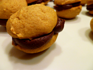 chocolate pumpkin whoopie pies | The Baking Fairy