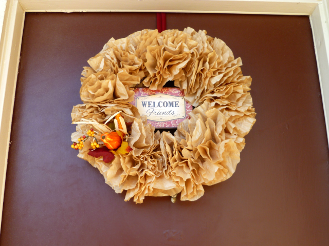 coffee filter fall wreath